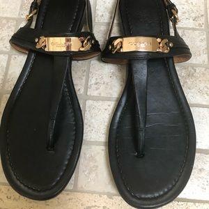 Coach black leather sandal